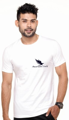 American Cult Solid Men's Round Neck White T-Shirt