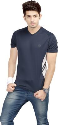 Being Responsible Self Design Men's V-neck Dark Blue T-Shirt