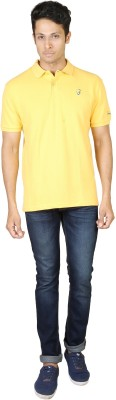 Being Odia Solid Men's Polo Neck Yellow T-Shirt