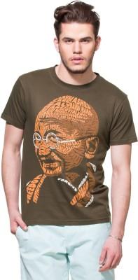 Zovi Printed Men's Round Neck Brown T-Shirt