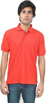 Trendy Trotters Solid Men's Polo Red T-Shirt