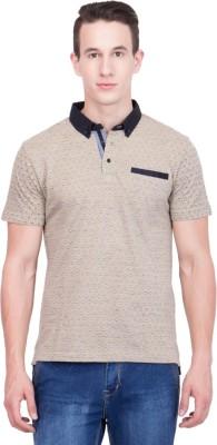 99Hunts Self Design Men's Polo Neck Beige T-Shirt