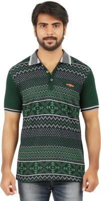 curviva Geometric Print Men's Polo Neck Dark Green T-Shirt