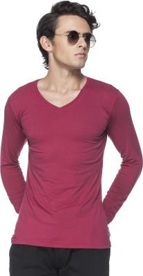 Tinted Solid Men's V-neck Maroon T-Shirt