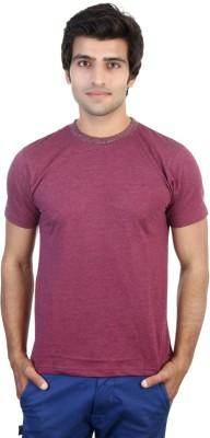 Shra Solid Men's Round Neck Pink T-Shirt