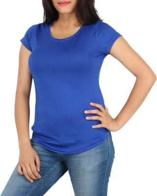 Download Apparel Solid Women,s Round Neck Blue T-Shirt
