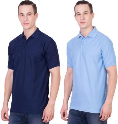 Randier Solid Men's Polo Neck Dark Blue, Blue T-Shirt