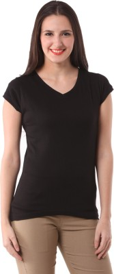 Fashionexpo Solid Women's V-neck Black T-Shirt