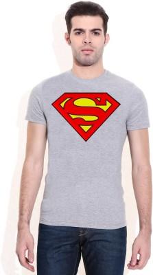 Hefty Graphic Print Men's Round Neck Grey T-Shirt