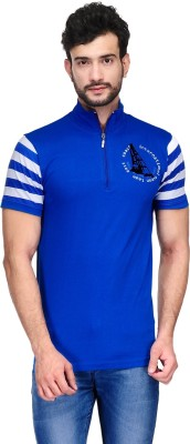 Ausy Solid Men's Polo Blue, White T-Shirt