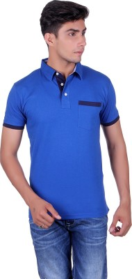 Heritage Denim Embroidered Men's Polo Neck Blue T-Shirt