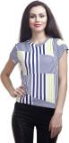 Subu Striped Women's Round Neck White T-...