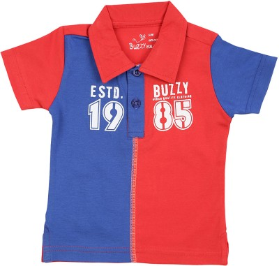 Buzzy Printed Baby Boys Polo Red, Blue T-Shirt