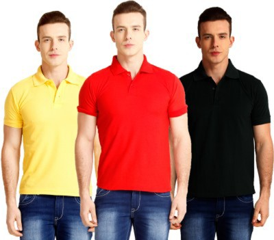 Larwa Solid Men's Polo Neck Black, Red, Yellow T-Shirt