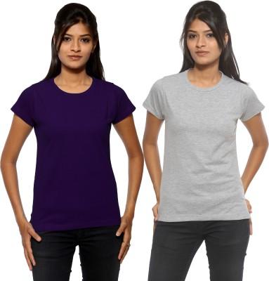 Threadz Solid Women's Round Neck Purple, Grey T-Shirt