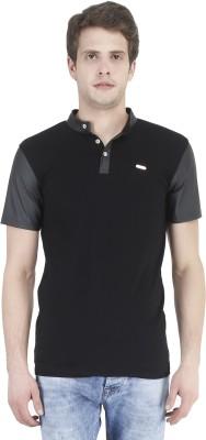 Tej Star Solid Men's Boat Neck Black T-Shirt