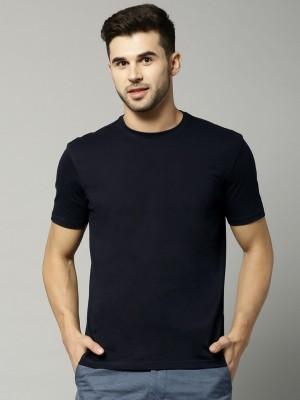 Marks & Spencer Solid Men's Round Neck Dark Blue T-Shirt
