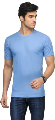 Vicbono Solid Men's Round Neck Light Blue T-Shirt