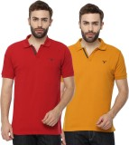 Youthen Solid Men's Polo Neck Yellow, Re...