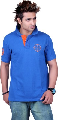 Counter Solid Men's Polo Neck Blue T-Shirt