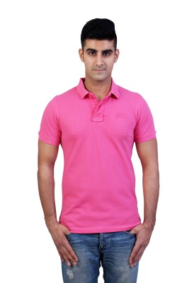 Bridge Solid Men's Polo Neck Pink T-Shirt