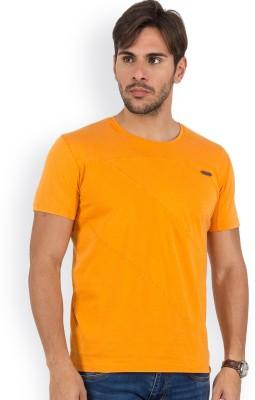 Blue Monkey Self Design Men's Round Neck Orange T-Shirt