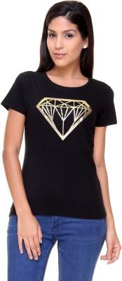 Alibi By Inmark Printed Women's Round Neck Black T-Shirt