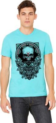 Monzter Popcornz Graphic Print Men's Round Neck Light Blue T-Shirt