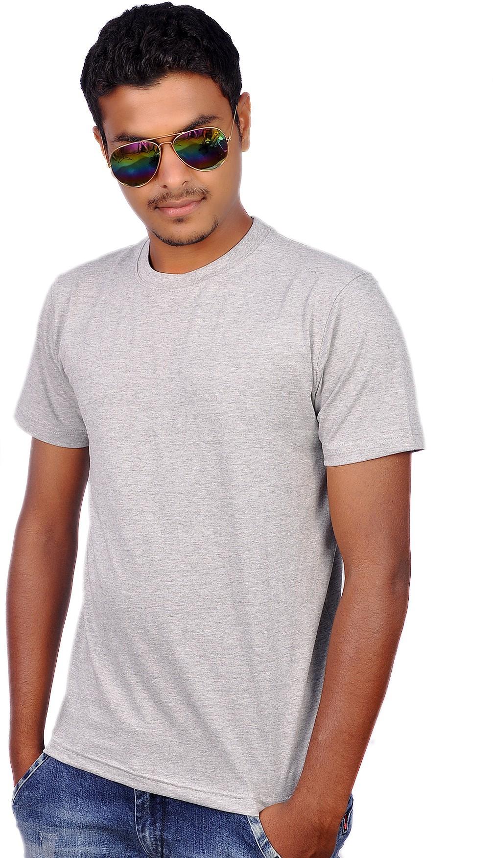 Amla Solid Mens Round Neck Grey T-Shirt