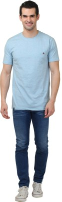 HASH TAGG Self Design Men's Round Neck Light Blue T-Shirt