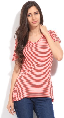 Mossimo Striped Women's V-neck Red, Pink T-Shirt