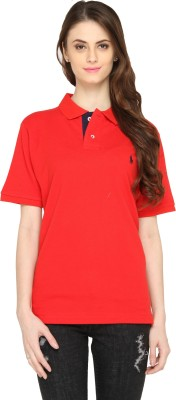 Bedazzle Solid Women's Polo Neck Red T-Shirt