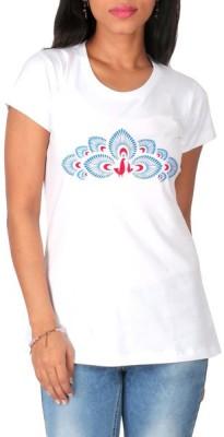 Mad(e) in India Graphic Print Women's Round Neck White T-Shirt