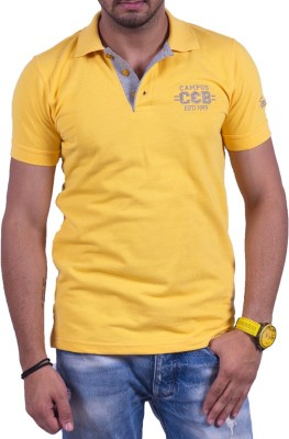 Cotton & Blends Striped Men's Polo Gold T-Shirt