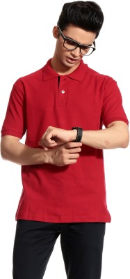 Brohood Solid Men's Polo Neck Red T-Shirt