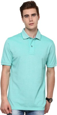 Mudo Solid Men's Mandarin Collar Green T-Shirt