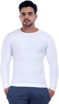 ILYK Solid Men's Round Neck White T-Shirt