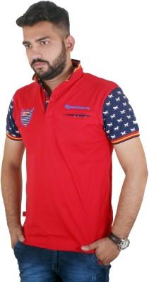 MjString Solid Men's Flap Collar Neck Red T-Shirt