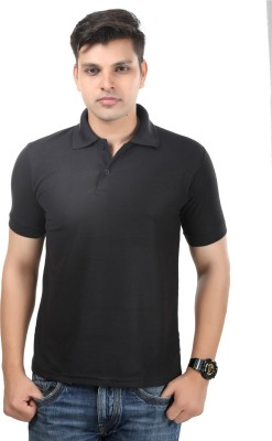 Etoffe Solid Men's Polo Neck Black T-Shirt