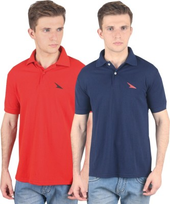 PRO Lapes Solid Men's Polo Neck Red, Dark Blue T-Shirt