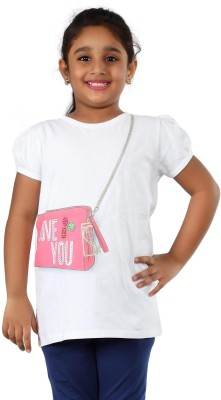 PINKY PONKY Solid Girl's Round Neck White T-Shirt