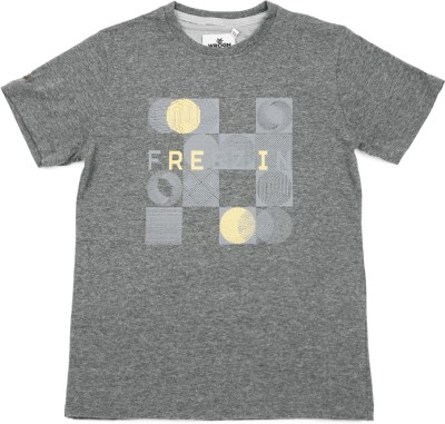 WROGN Printed Boy's Round Neck Grey T-Shirt