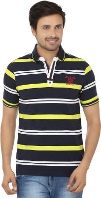 Q-Plus Striped Men's Polo Neck Black, Yellow T-Shirt