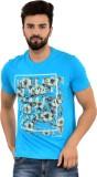 Blue Buddha Printed Men's Round Neck Blu...