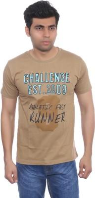 Studio Nexx Printed Men's Round Neck Brown T-Shirt