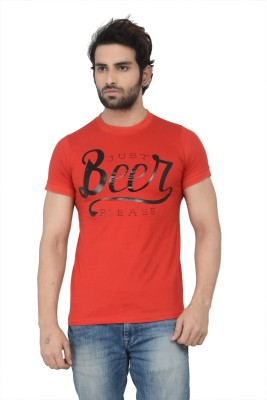 Karnik Couture Printed Men's Round Neck Red T-Shirt