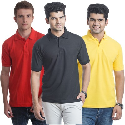 Bainsons Solid Men,s Polo Red, Black, Yellow T-Shirt