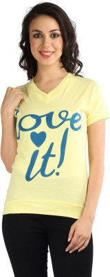 Wajbee Printed, Solid Women's V-neck Yellow T-Shirt