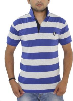 Grey Tree Striped Men,s Polo Neck Blue T-Shirt