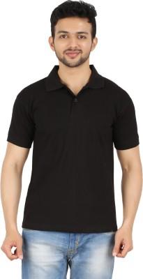 Garudaa Garments Solid Men's Polo Neck Black T-Shirt
